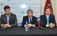 Burzaco, Federici y Sylvester, en el acto de inauguración.