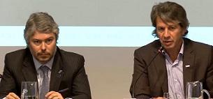 Mariano Federici, presidente de la UIF, junto a Juan Pazo, superintendente de Seguros.